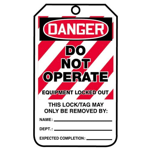 Lockout/Tagout Tag - Do Not Operate, Equipment Locked Out (07552)