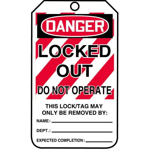 Lockout/Tagout Tag - Danger Locked Out Do Not Operate (07554)