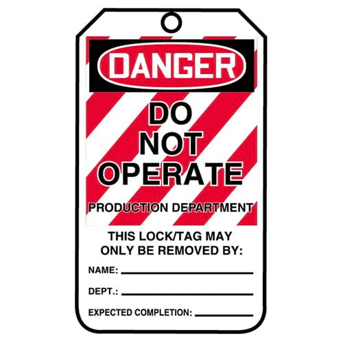 Lockout/Tagout Tag - Danger Do Not Operate Production Department (07555)