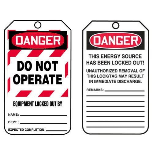 Lockout/Tagout Tag - Danger Do Not Operate Equipment Locked Out By (07556)