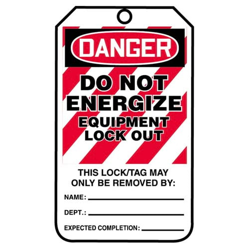Lockout/Tagout Tag - Danger Do Not Energize Equipment Lockout (07560)