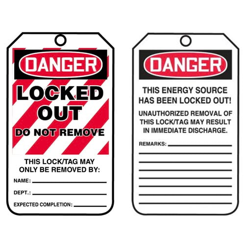 Lockout/Tagout Tag - Danger Locked Out Do Not Remove (07561)
