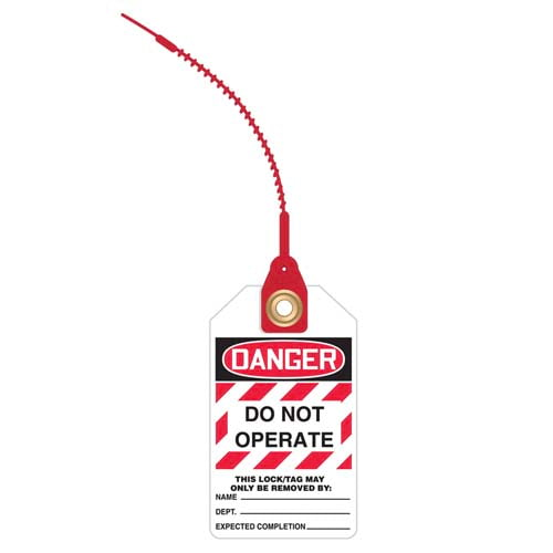 Loop n' Lock Tie Tags - Danger Do Not Operate (Text in White Box) (07580)