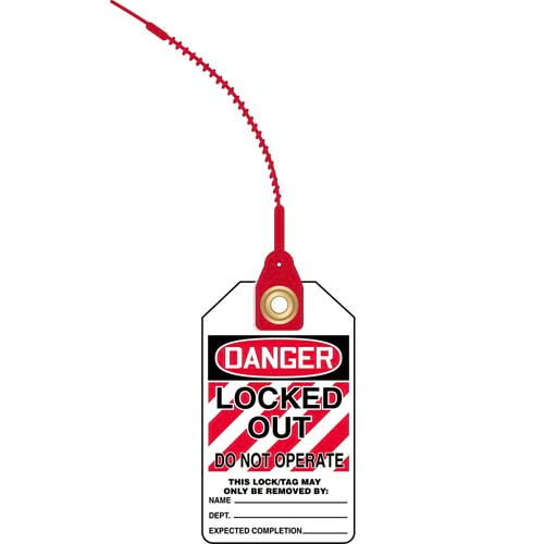 Loop n' Lock Tie Tags - Danger Locked Out Do Not Operate (07582)