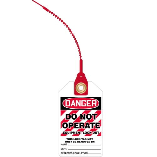 Loop n' Lock Tie Tags - Danger Do Not Operate Equipment Lock Out (07583)