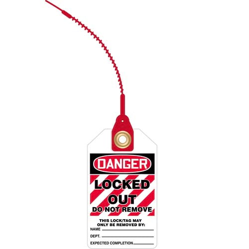 Loop n' Lock Tie Tags - Danger Locked Out Do Not Remove (07585)
