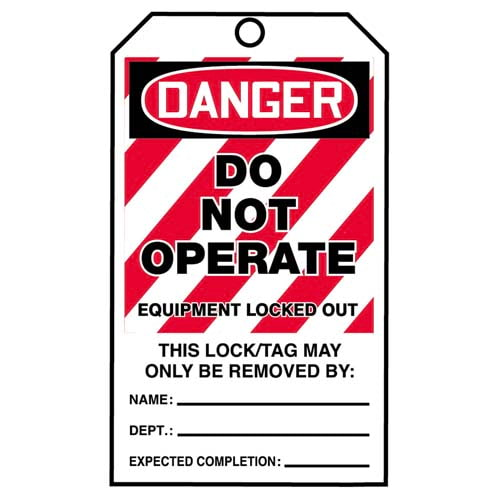 STOPOUT® Tags By-The-Roll - Danger Do Not Operate Equipment Locked Out (07588)