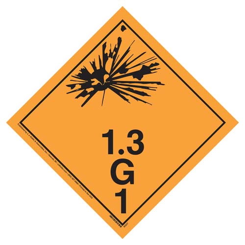 Division 1.3G Explosives Placard - Wordless (07704)