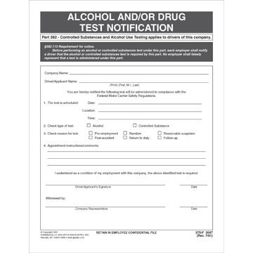 Alcohol and/or Drug Test Notification - Padded Format (00932)