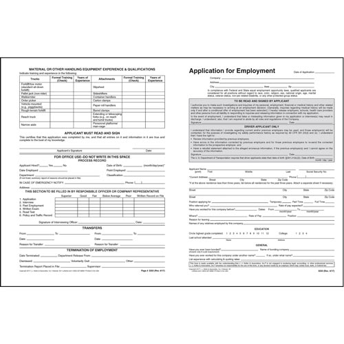 driver u0026 39 s application for employment