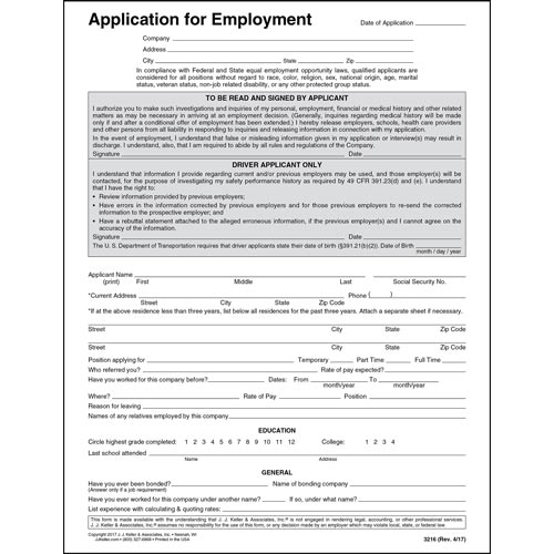 DriverS Application For Employment  Paper