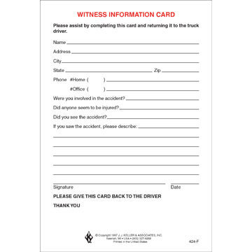 Witness Information Card (01586)