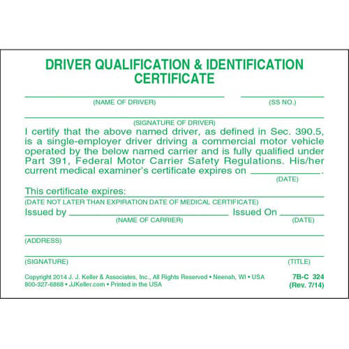 Driving Qualification & Identification Certification Cards (00021)