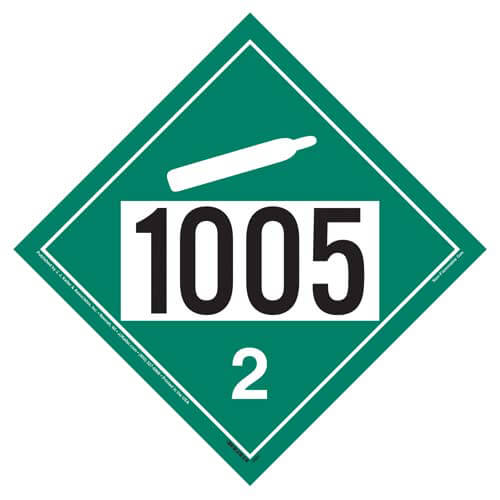 1005 Placard - Division 2.2 Non-Flammable Gas (02346)