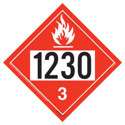 1230 Placard - Class 3 Flammable Liquid (02475)