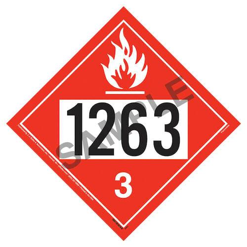 1263 Placard - Class 3 Flammable Liquid (02478)