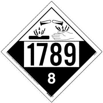 1789 Placard - Class 8 Corrosive (02499)