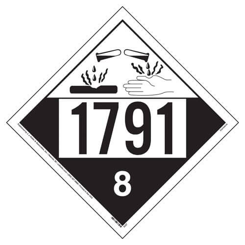 1791 Placard - Class 8 Corrosive (02521)