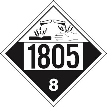 1805 Placard - Class 8 Corrosive (02507)