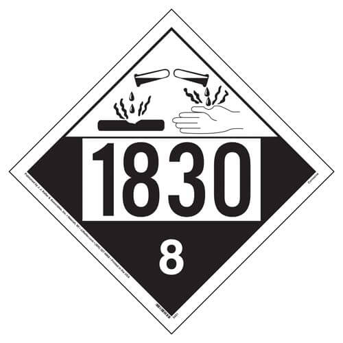 1830 Placard - Class 8 Corrosive (02526)