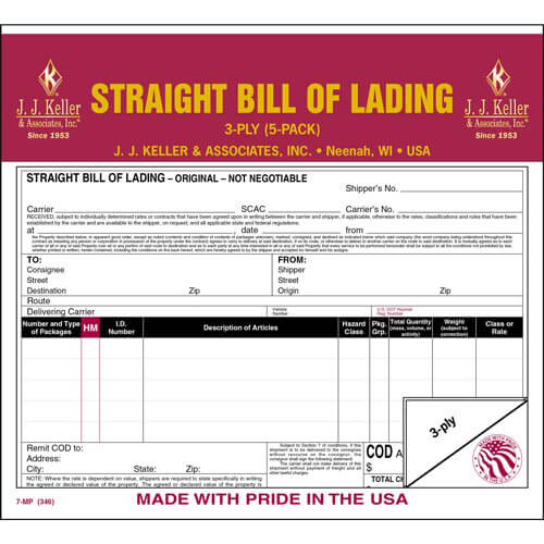 Straight Bill Of Lading 5-Pack - Retail Packaging (07043)