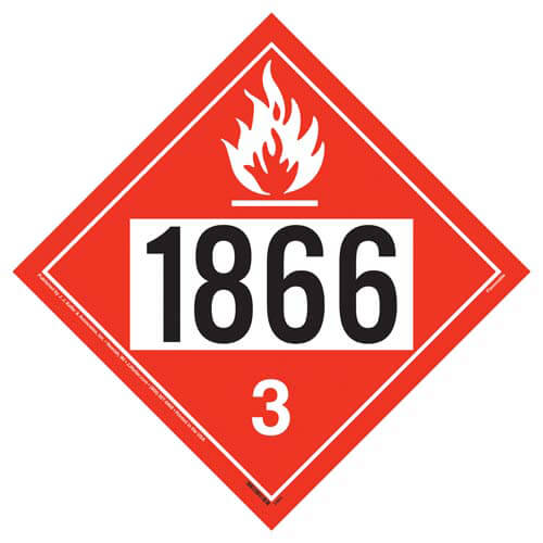 1866 Placard - Class 3 Flammable Liquid (02481)