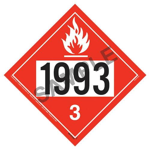 1993 Placard - Class 3 Flammable Liquid (02362)