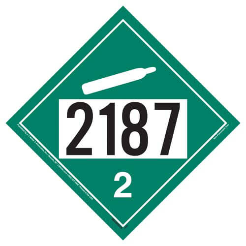 2187 Placard - Division 2.2 Non-Flammable Gas (02351)