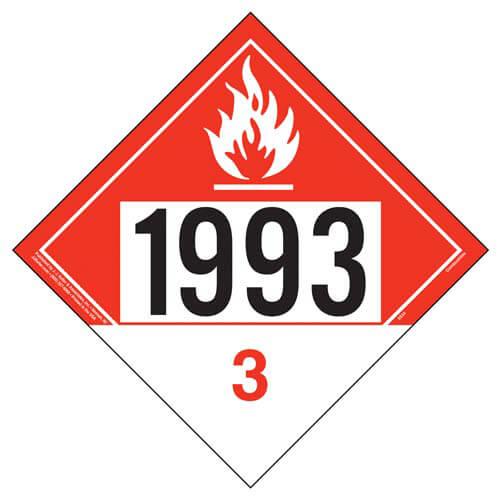 1993 Placard - Class 3 Combustible Liquid (01918)