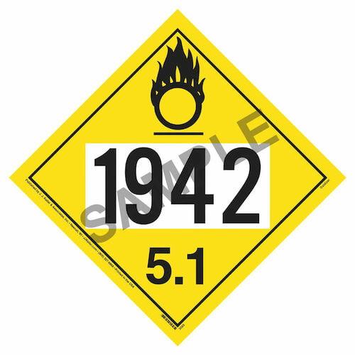 1942 Placard - Division 5.1 Oxidizer (02492)