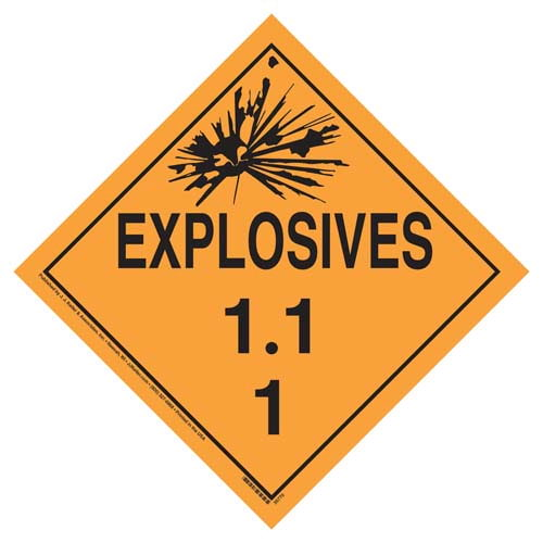 Division 1.1 Explosives Placard - Worded (07806)