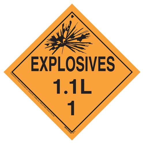 Division 1.1L Explosives Placard - Worded (07814)