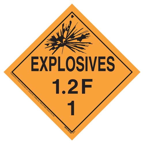 Division 1.2F Explosives Placard - Worded (07820)