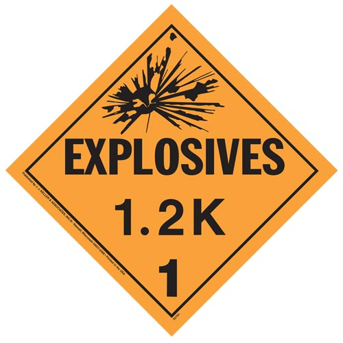 Division 1.2K Explosives Placard - Worded (07824)