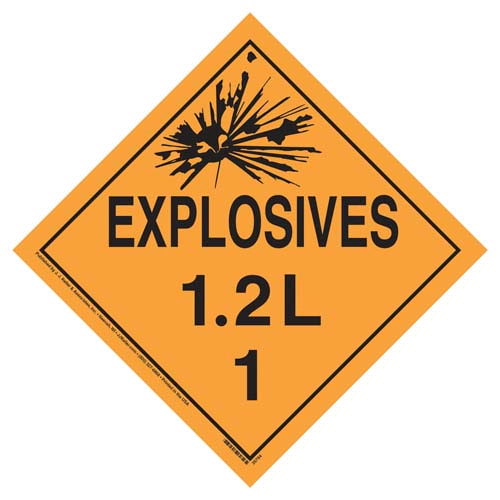 Division 1.2L Explosives Placard - Worded (07825)