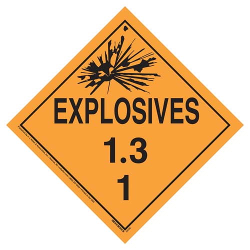 Division 1.3 Explosives Placard - Worded (07826)
