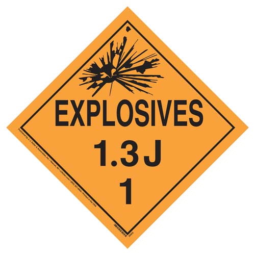 Division 1.3J Explosives Placard - Worded (07830)