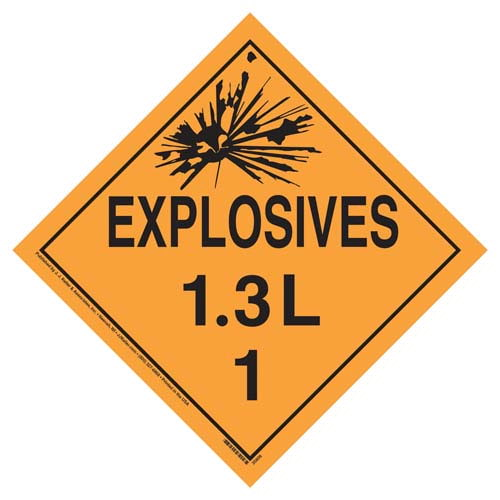Division 1.3L Explosives Placard - Worded (07832)