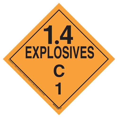 Division 1.4C Explosives Placard - Worded (07834)