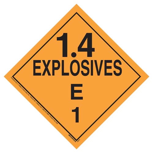 Division 1.4E Explosives Placard - Worded (07836)