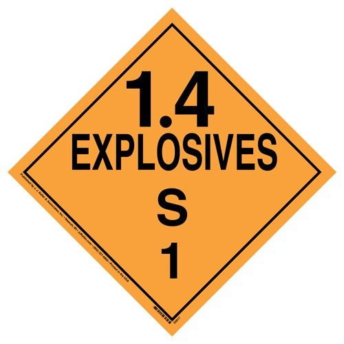 Division 1.4S Explosives Placard - Worded (07838)