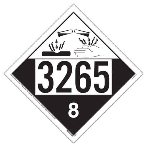 3265 placard class 8 corrosive