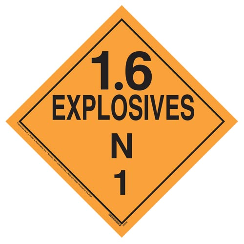 Division 1.6N Explosives Placard - Worded (07840)
