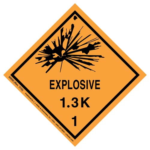 Explosives Label - Class 1, Division 1.3K - Poly (07871)