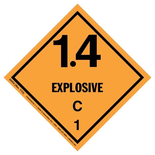 Explosives Label - Class 1, Division 1.4C - Poly (07875)