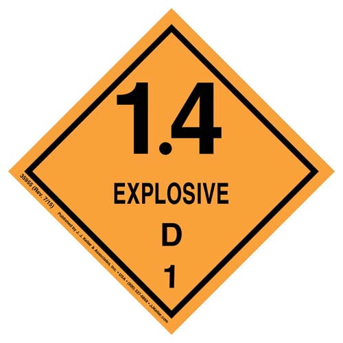 Explosives Label - Class 1, Division 1.4D - Poly (07876)