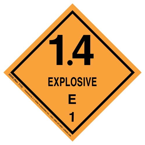 Explosives Label - Class 1, Division 1.4E - Poly (07877)