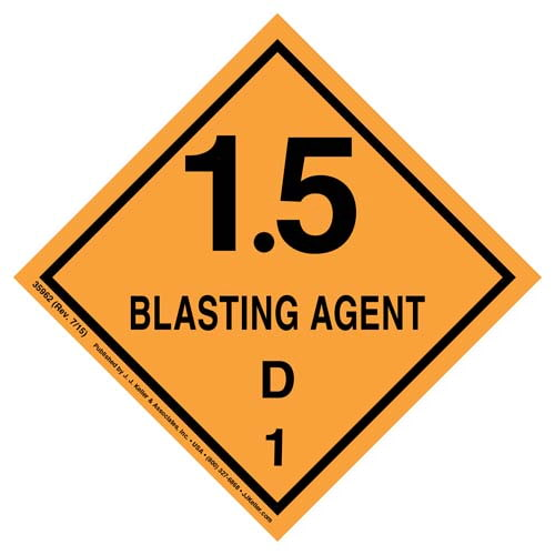 Explosives Label - Blasting Agents, Class 1, Division 1.5D - Poly (07882)