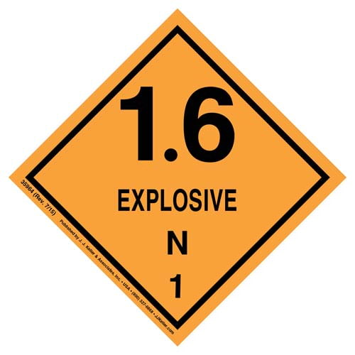 Explosives Label - Class 1, Division 1.6N - Poly (07884)