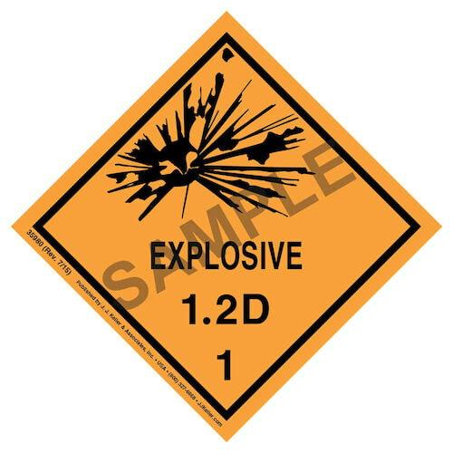 Explosives Label - Class 1, Division 1.2D - Paper (07898)
